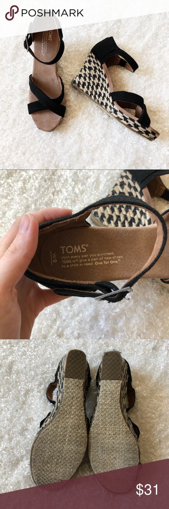 Toms Wedge Sandal Size 9 Toms Wedge Sandal. Wedge is approximately 4 inches. Size 9. Good condition, please see photos for any wear. Toms Shoes Wedges #tomwedges
