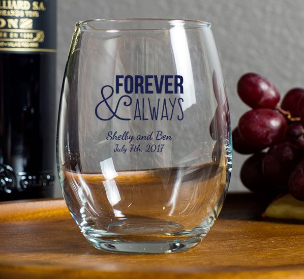 Personalized Stemless Wine Glasses 9 Oz Favors For Your Wedding Bridal Shower Party Baby And Other Events