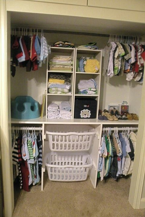 Nursery closet. love the laundry basket idea