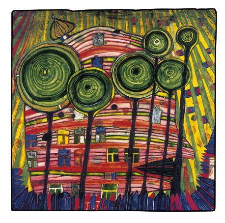 paintings hundertwasser les machins poussent dans les jardins aimes 1975 painting. Black Bedroom Furniture Sets. Home Design Ideas