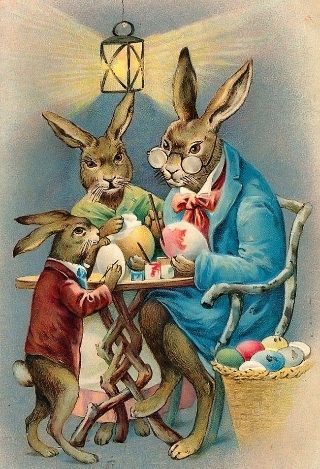 Открытки с пасхальными кроликами, картинки для