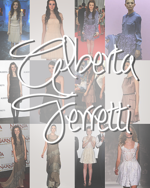 Alberta Ferretti is an Italian fashion designer. Her style is marked by romance and poetry with diaphanous draping, delicate embroidery. She opened her first boutique in Cattolica, Italy when she was 18 years old. In 1974 she designed her first collection. Georgie has worn a lot of dress by this designer and even walked the catwalk during one of her fashion shows.