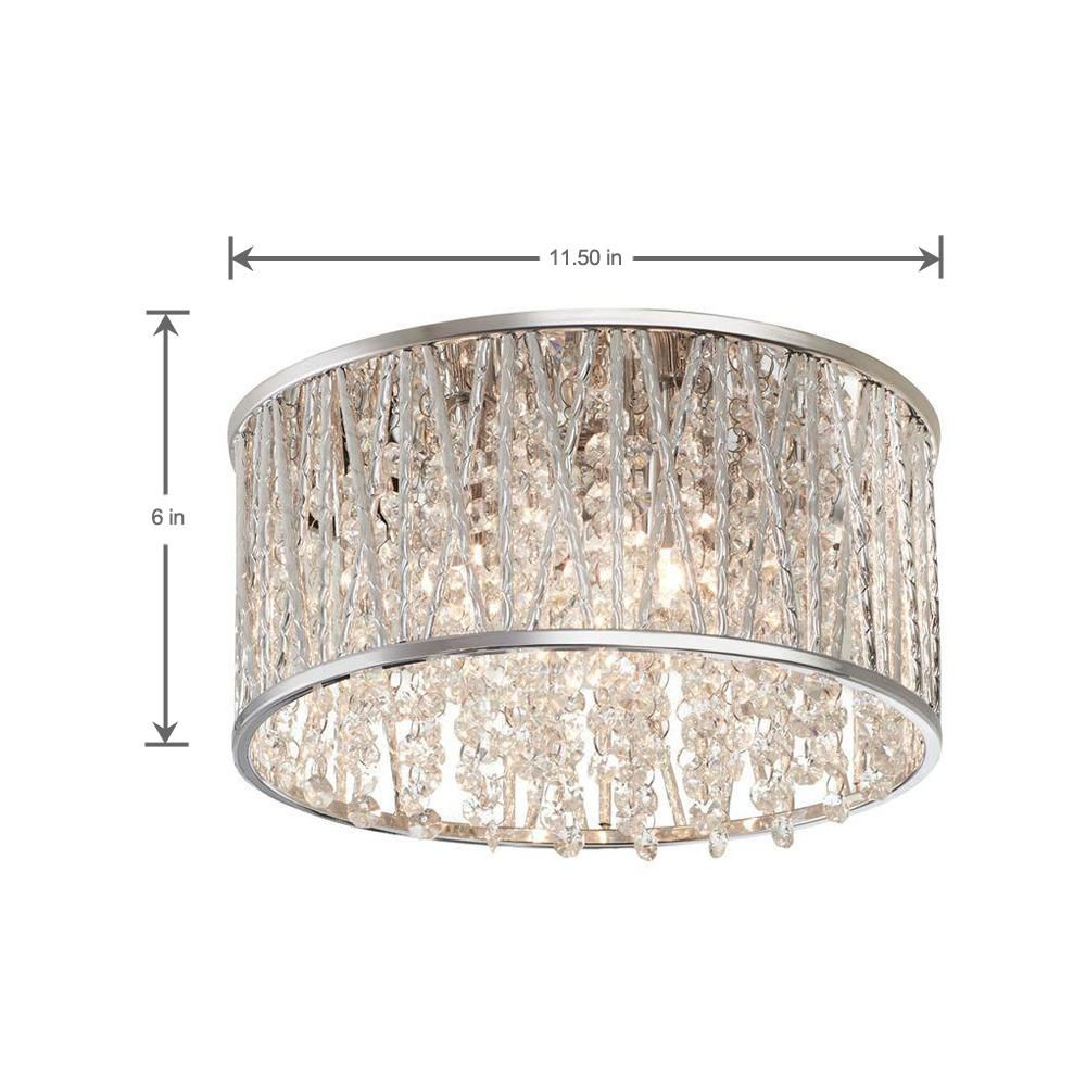 Home Decorators Collection Saynsberry 11 5 In 3 Light Polished Chrome And Crystal Drum Shape Flush Mount 4411 Ndm The Home Depot Polished Chrome Flush Chandelier Flush Mount Ceiling Lights