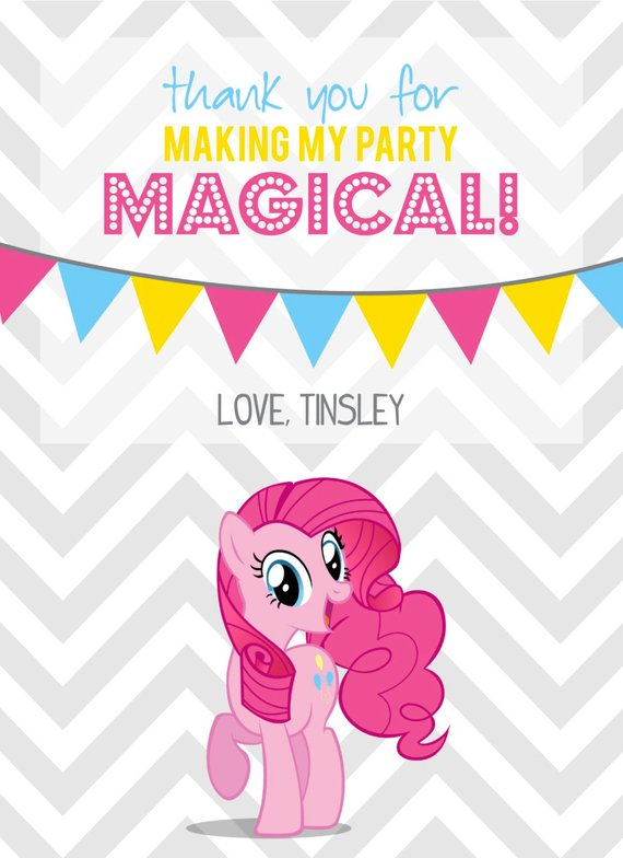 Pinkie Pie My Little Pony Favor Tag Or Thank You Card My Etsy My Little Pony Party Little Pony Party Pony Party