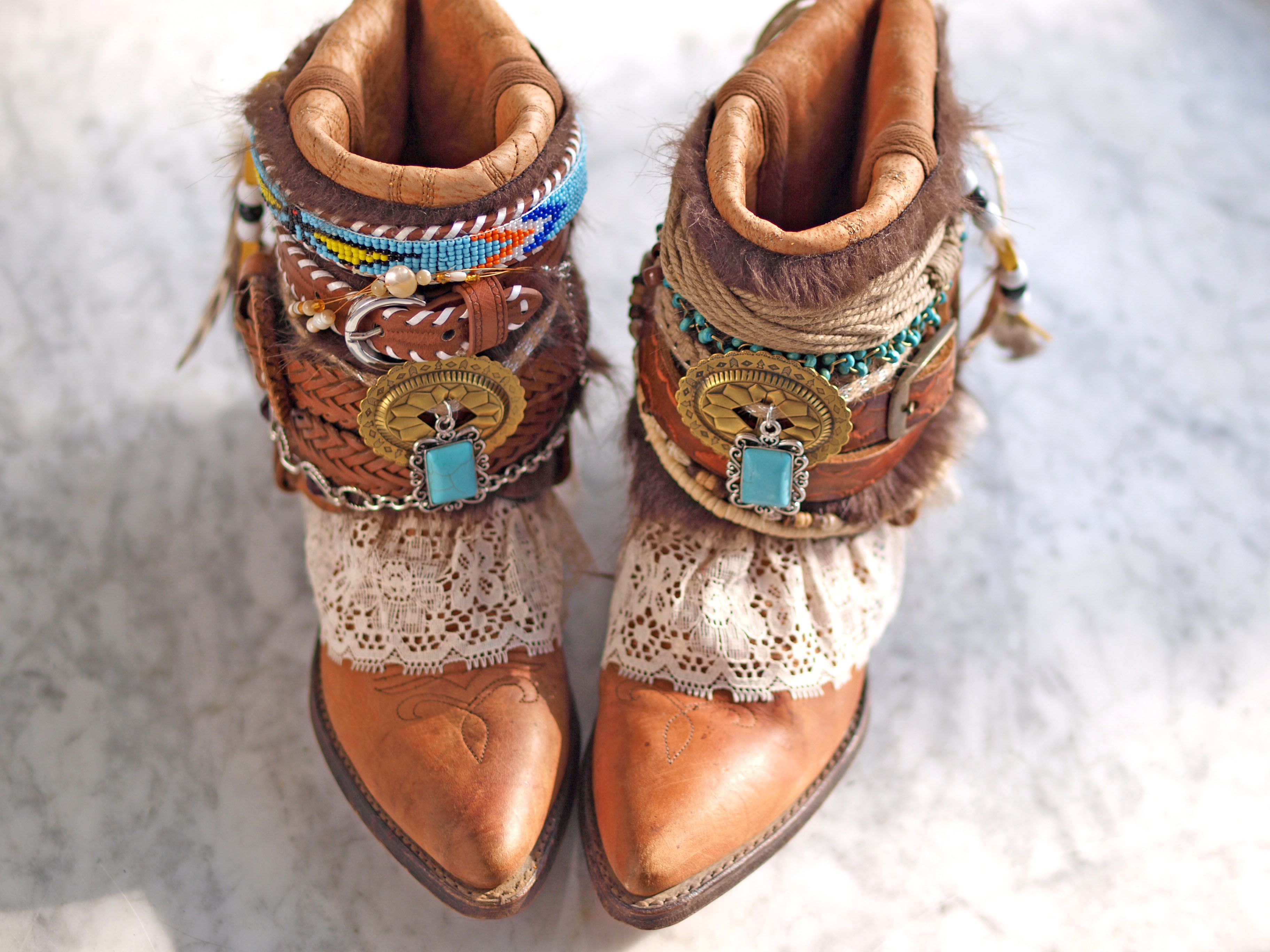 Turquoise Baby Fringe Booties Soft Booties Shabby Chic