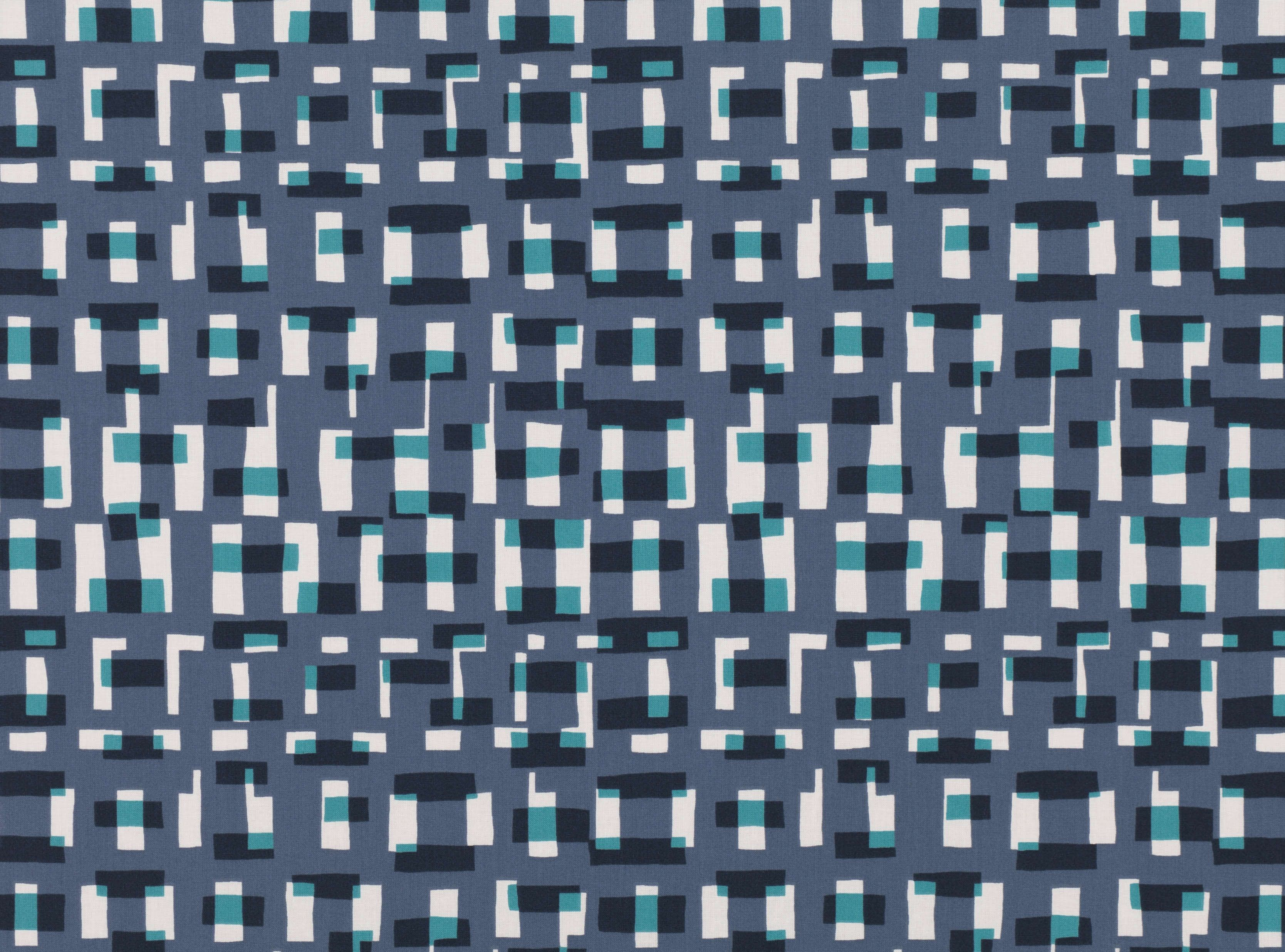 A contemporary print featuring simple, overlapping shapes