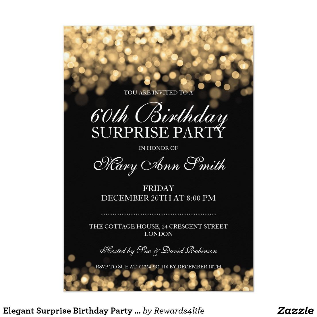 Elegant Surprise Birthday Party Gold Lights X Paper Invitation - Elegant birthday invitation free templates