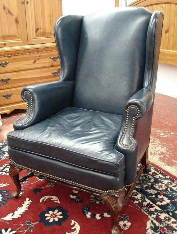 Best Bassett Navy Blue Leather Vintage Wear Wingback Fireside 640 x 480
