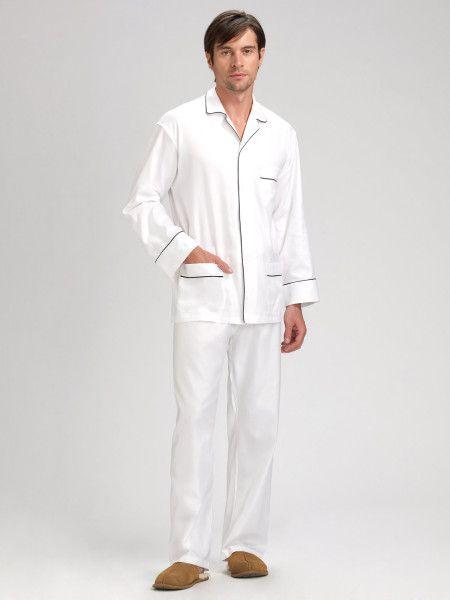 f2c59fc3cc5f Men's White Cotton Pajamas pics | Saks Fifth Avenue Black Label Twill  Cotton Pajama Set in White for Men