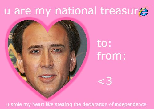 Youu0027re My National Treasure Valentines Day Card Nicholas Cage