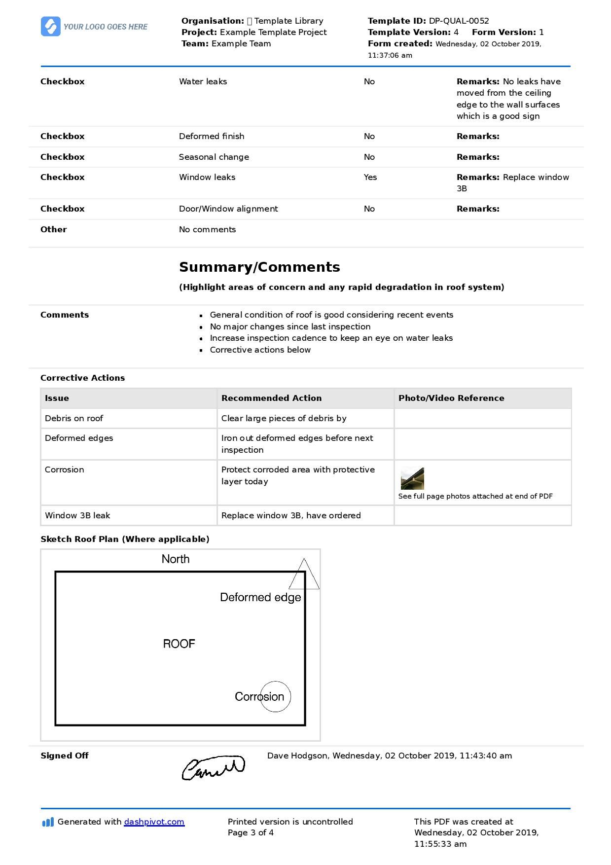 Roof Inspection Checklist Template (Better Than Pdf Form