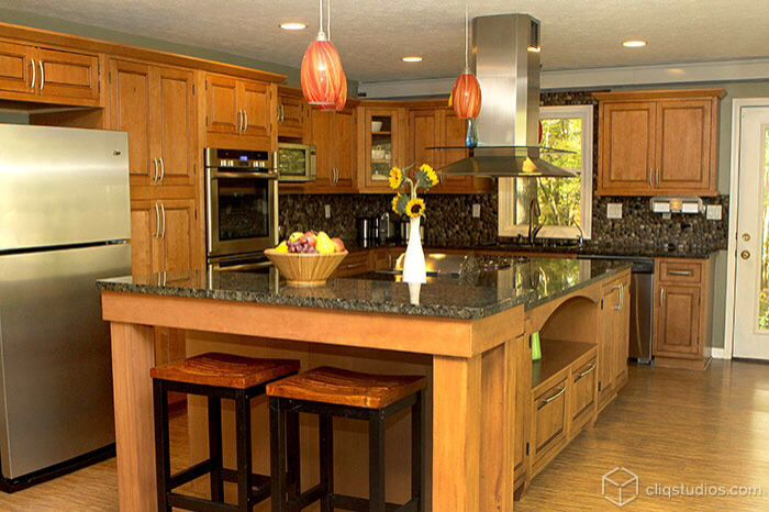 Nice example of darker stone counters with oak cabinets. | Kitchen on bath ohio, pantry cabinets ohio, home ohio,