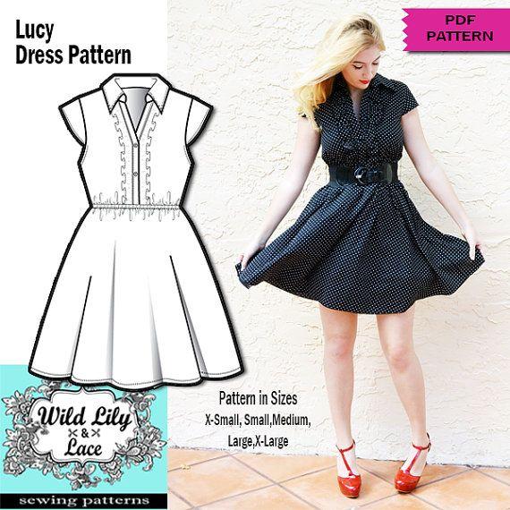 Retro Dress Pattern Retro Dress Sewing Pdf Pattern Pdf Pattern Dress Sewing Women Dress Pattern Flair Retro Dress Pattern Retro Dress Pattern Dress Women
