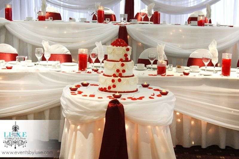 Burgundy and white wedding head table and cake table | Burgundy and ...