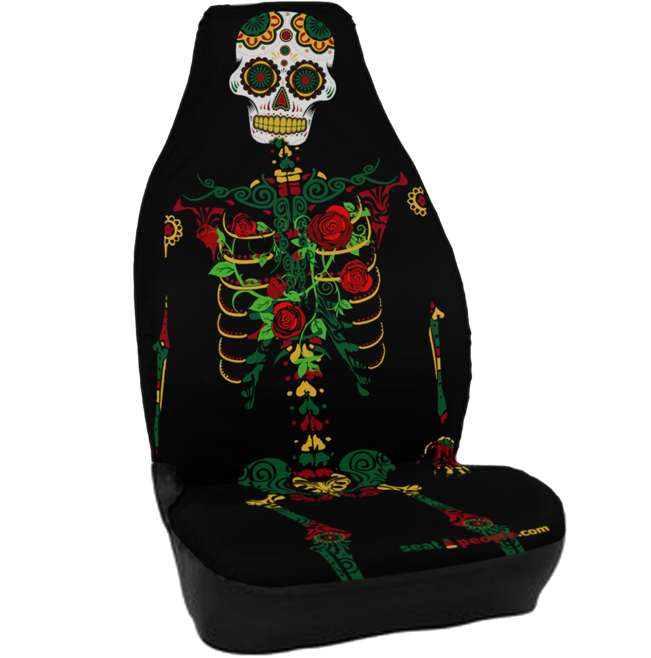 Day Of The Dead Seat Cover Jeep Covers Car Yellow Cat