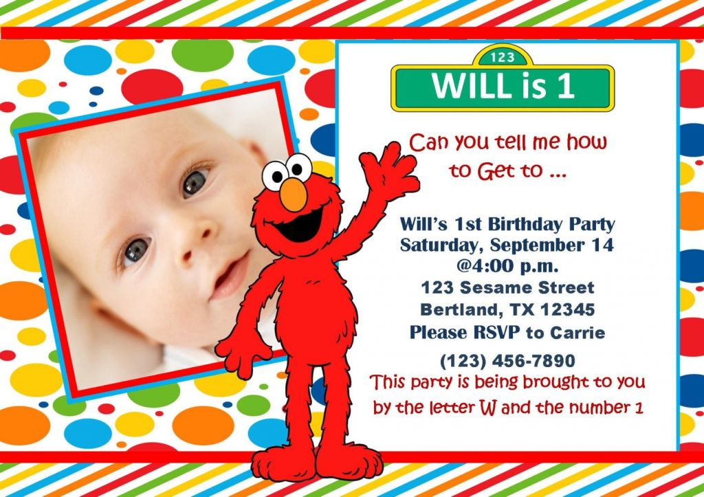 Elmo 1st Birthday Invitation Templates | Lilly\'s party | Pinterest ...