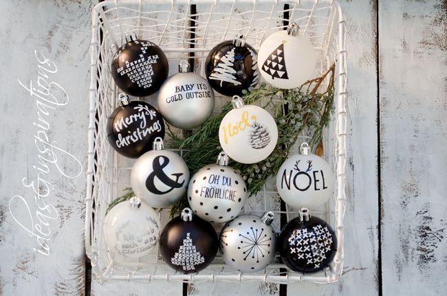 Christmas Ornaments Christbaumschmuck Schwarz Weiss Silber Black