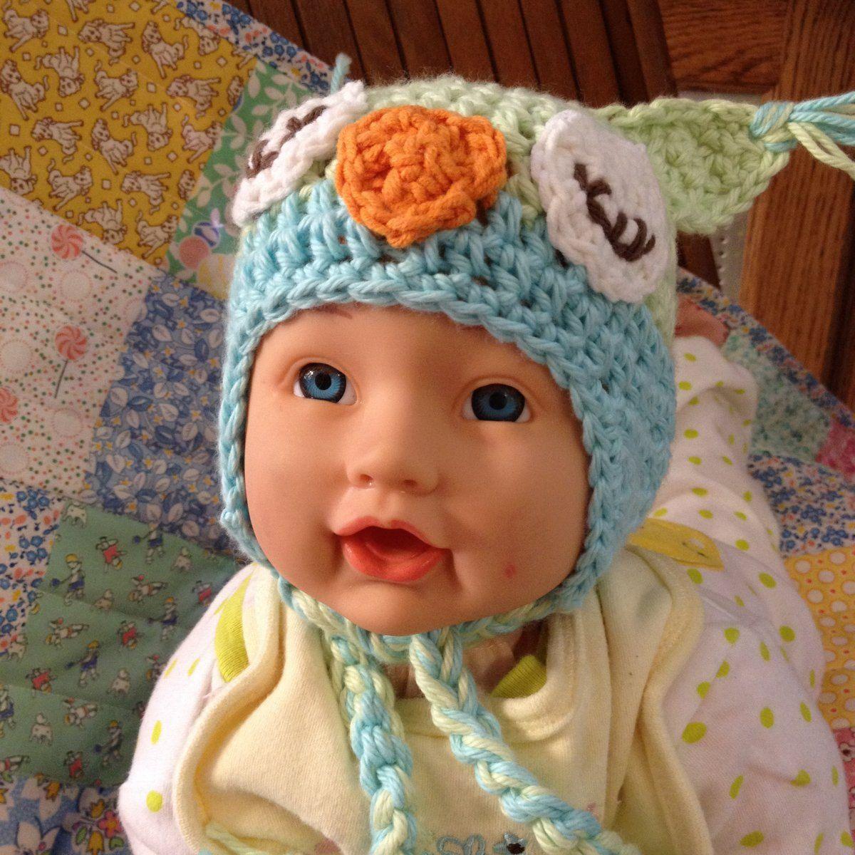 Green Owl Hat, Handmade Owl Hat Newborn size. $19.50, via Etsy.#Repin By:Pinterest++ for iPad#