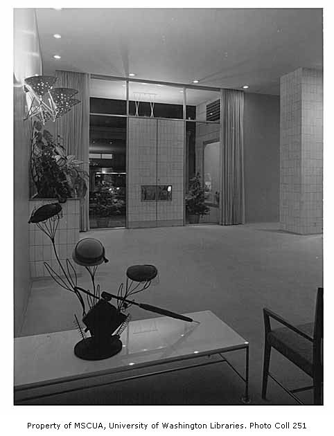 John Doyle Bishop shop interior showing entrance, Seattle, 1955