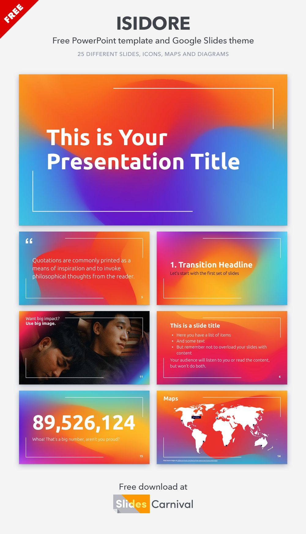 Rainbow Gradients Free Powerpoint Template Google Slides Theme Presentation Template Free Templates Powerpoint Templates