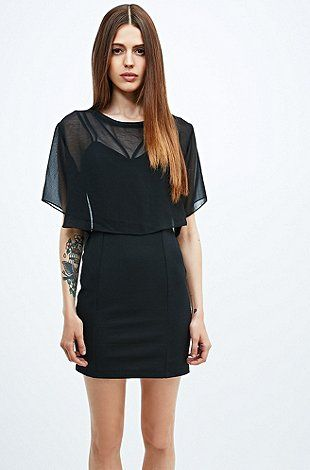 Silence + Noise Strappy Overlay Dress in Black - Urban Outfitters