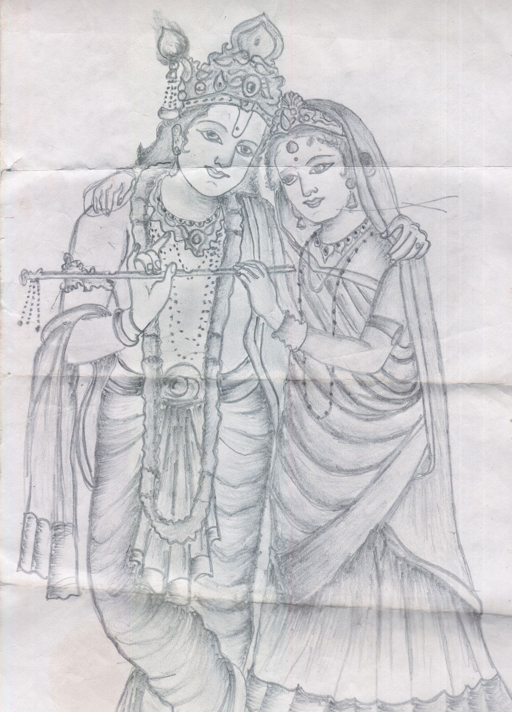 Radha krishna pictures krishna radha happy janmashtami pencil design tanjore painting