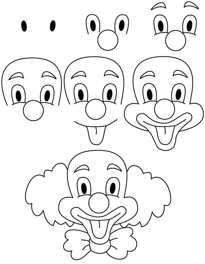 Apprendre A Dessiner Un Clown Leer Tekenen Eenvoudige