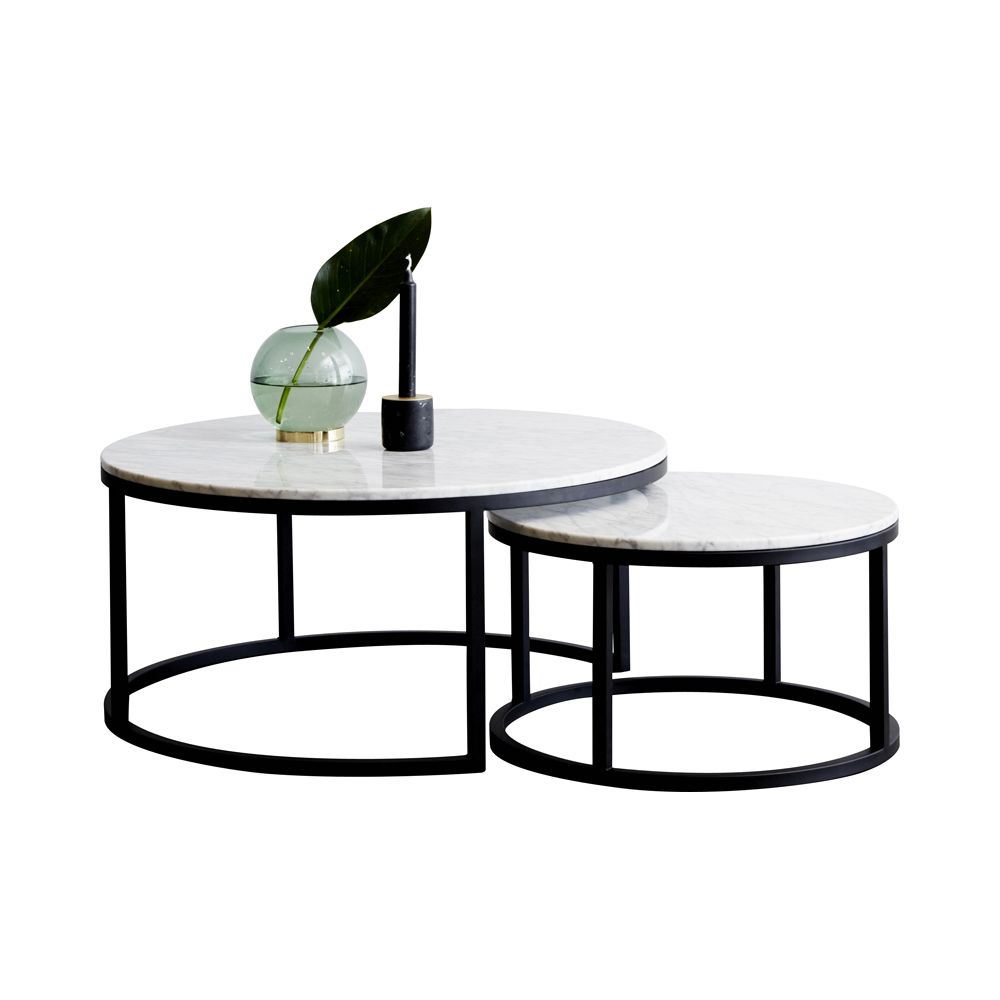 Designer Carrara Marble London Nesting Coffee Tables With Black Steel Base Made In Australia
