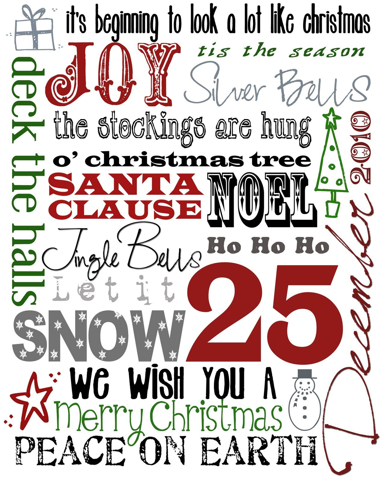 Christmas subway art - Free Printable