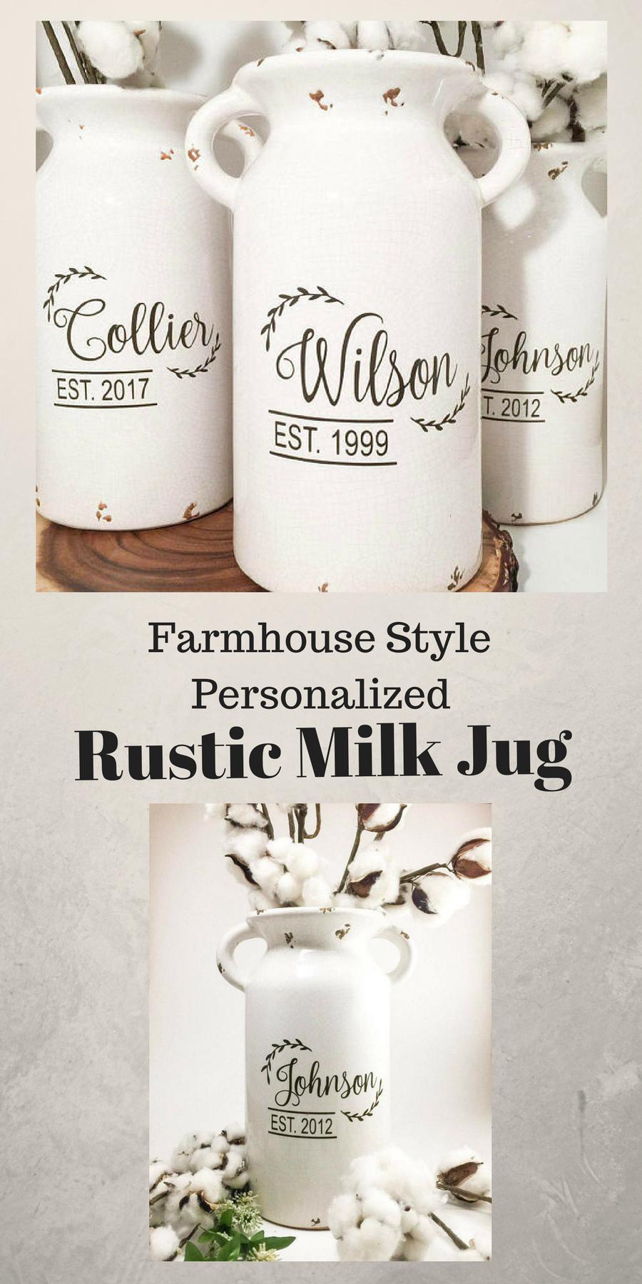 This vintage milk jug\Farmhouse Style Home Decor piece is