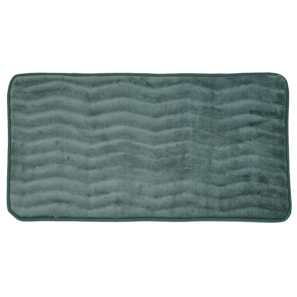 Lavish Home Green 24 In X 60 In Memory Foam Extra Long Bath Mat