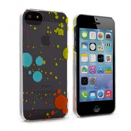 iphone 5c says searching iphone 5c clear with multicoloured splatter 14695