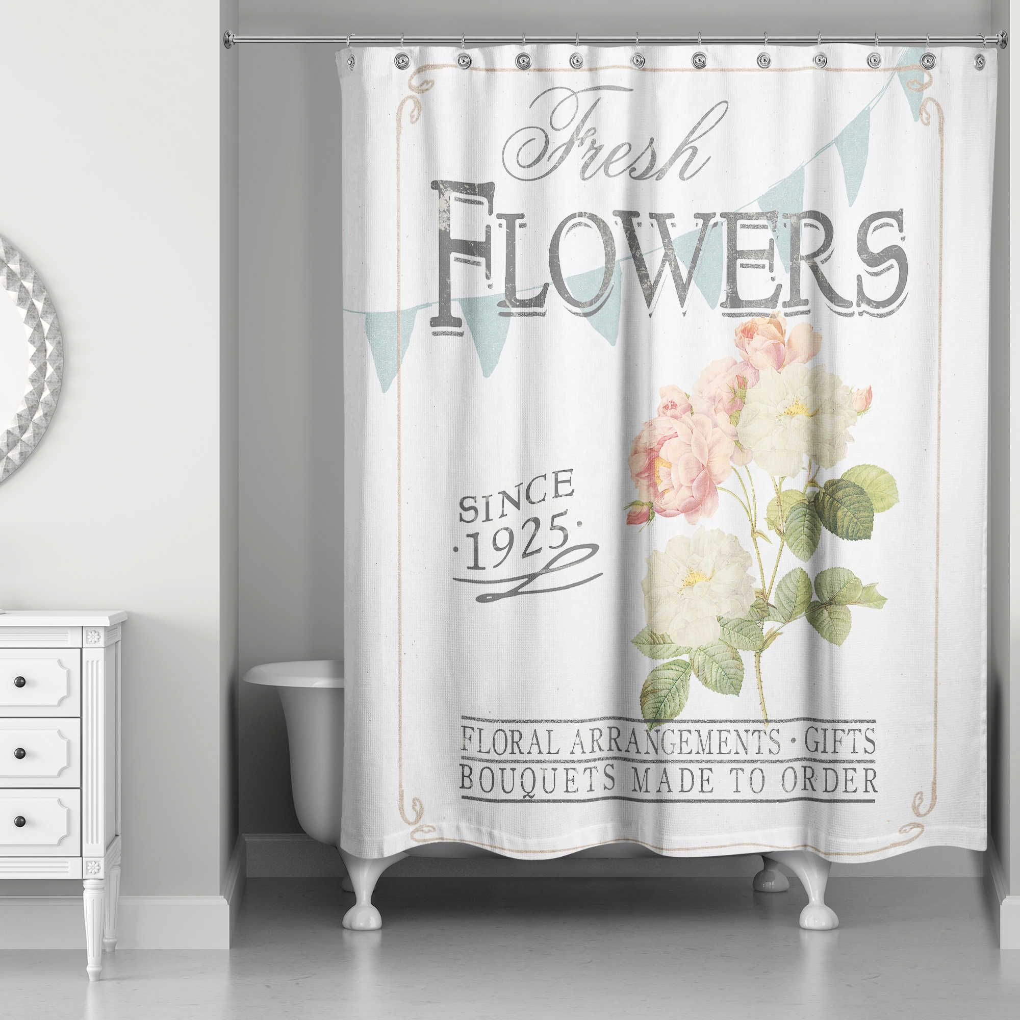 Designs Direct Fresh Flowers Shower Curtain Flower Shower