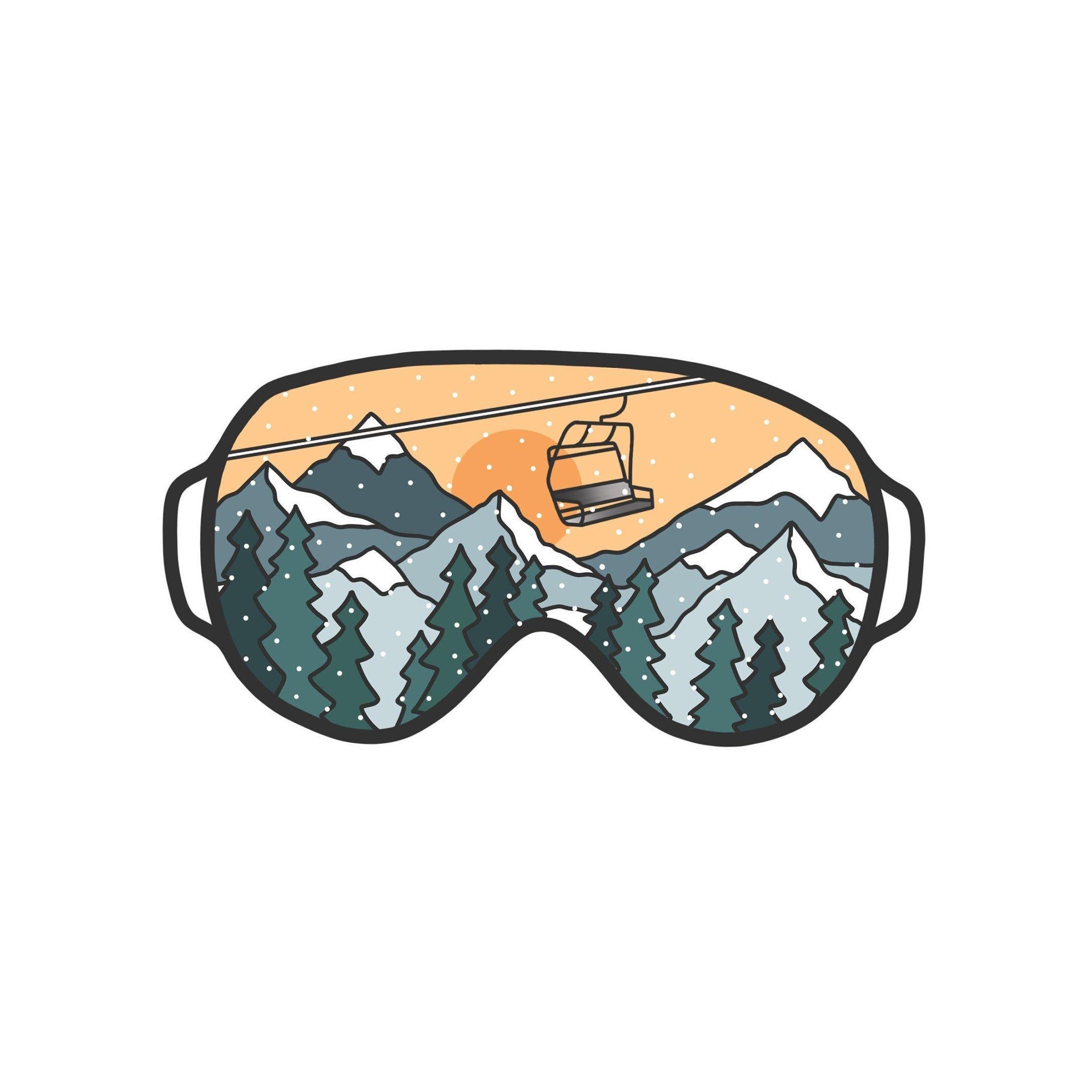 Snow Goggle Stickers Ski Snowboard Mountain Scene Etsy Ski Drawing Ski Art Skiing [ 2174 x 2172 Pixel ]