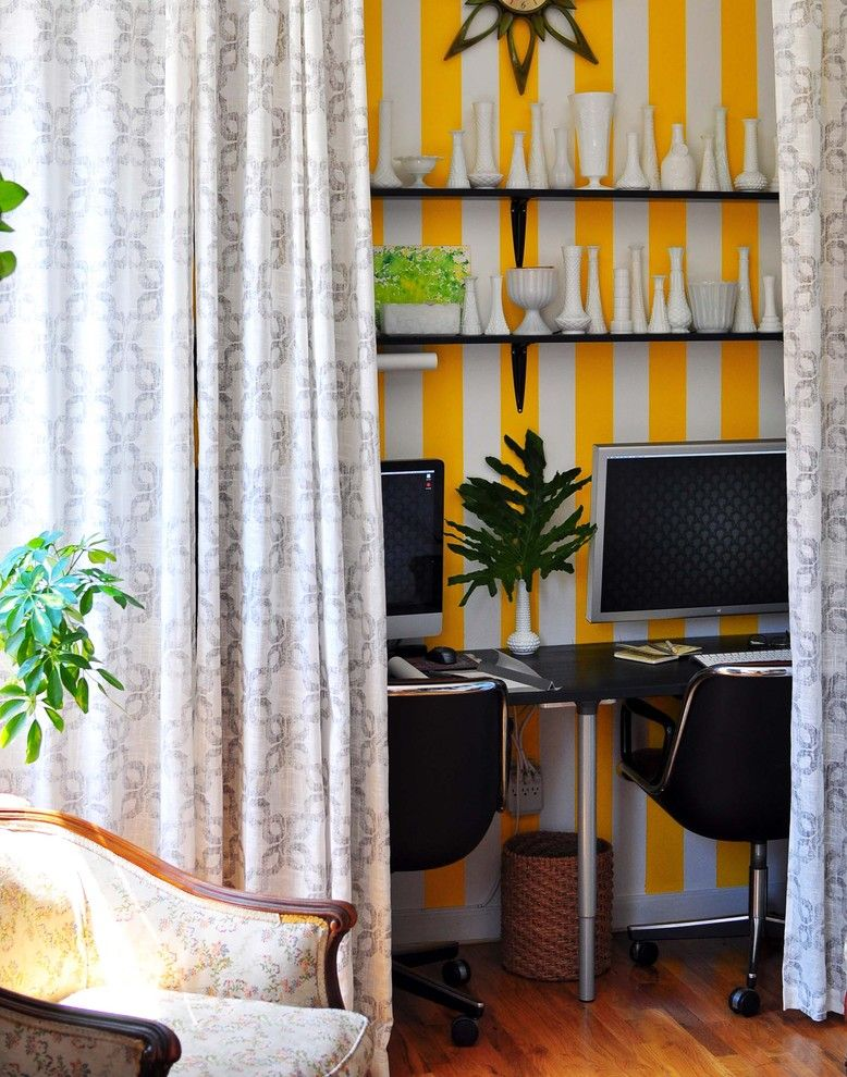 Home Office Hidden In Curtain Track Of Beige, Yellow White Stripped Wall,  Wooden Floor, Rattan Basket, Plants, Clock, White Chinas, Dark Brown Chairs  Of ...