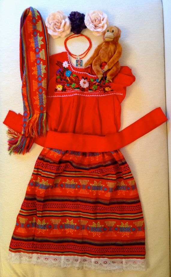 Frida Kahlo Girls Icon Halloween Costume Dress Up Complete 9 Piece Mexican Peasant Outfit Artistic Unique Mexican Outfit Dress Barbie Doll Mexican Fashion