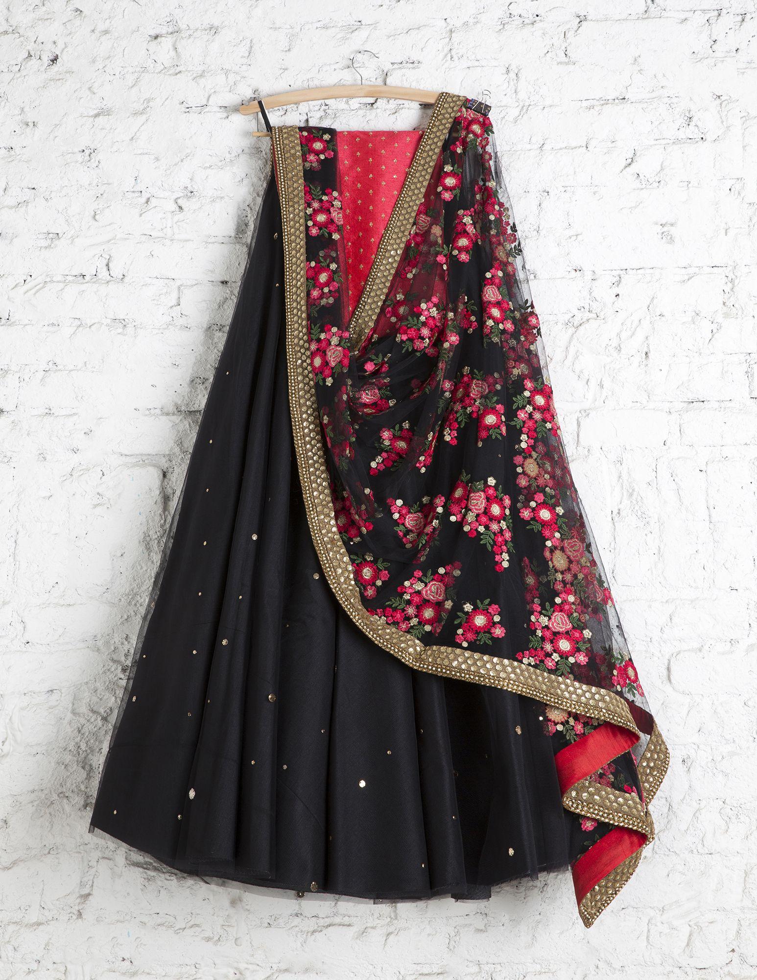 87f0a2f16 SwatiManish Lehengas SMF LEH 182 17 Black badla lehenga with floral  threadwork dupatta coral sequin blouse