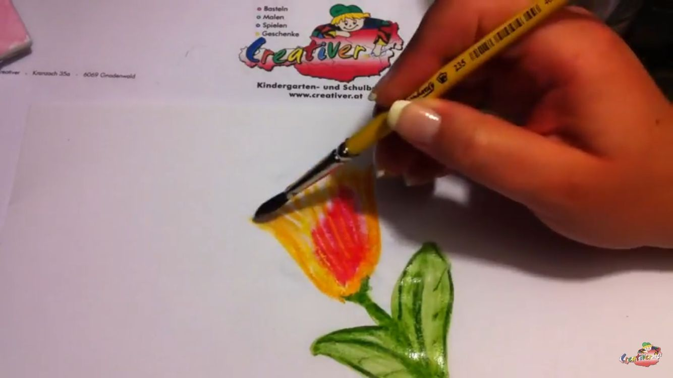 Blumen Mit Aquarell Stiften Pinsel Und Wasser Malen Schnell Und