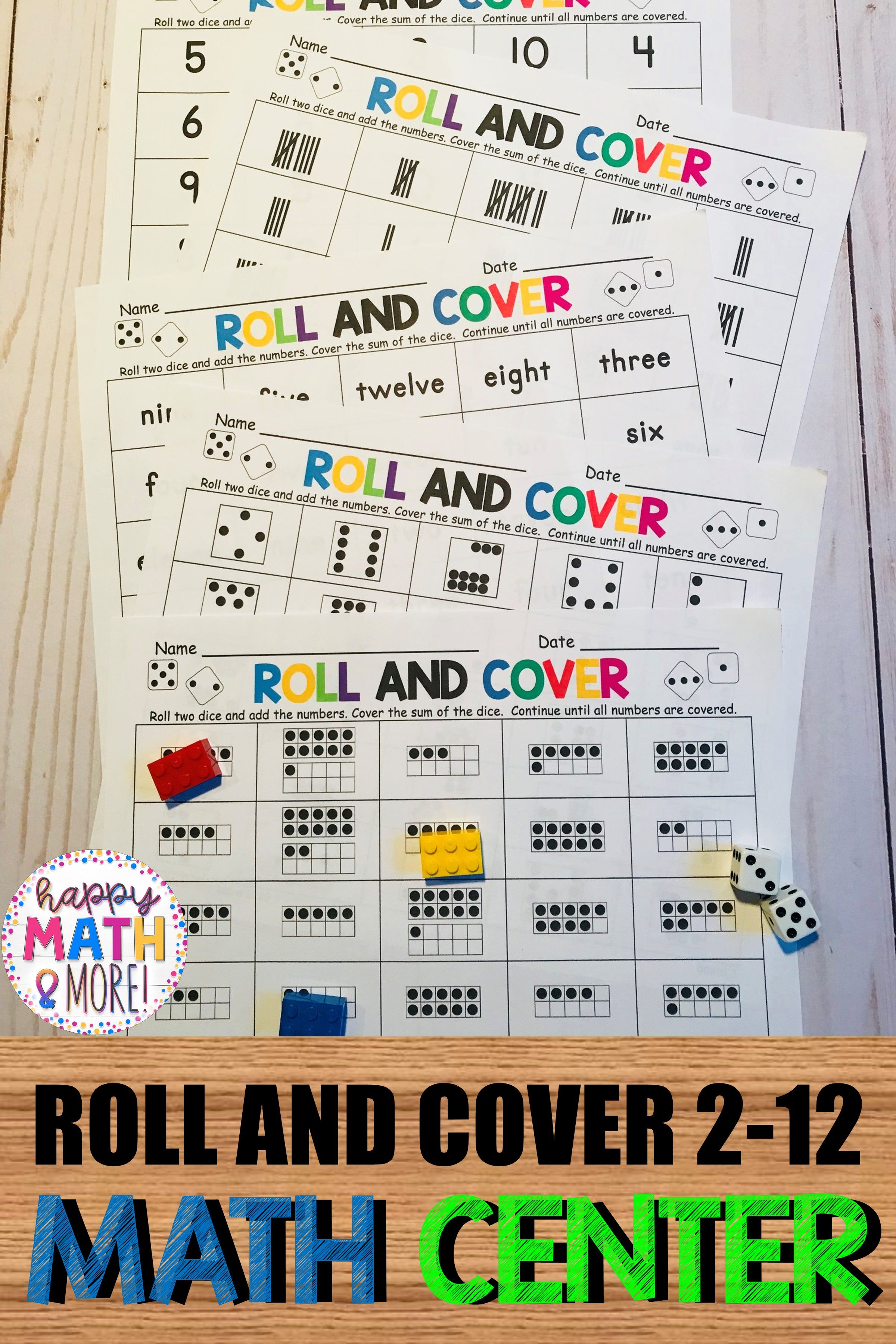 Roll And Cover 2 12 Number Sense Addition Math Center