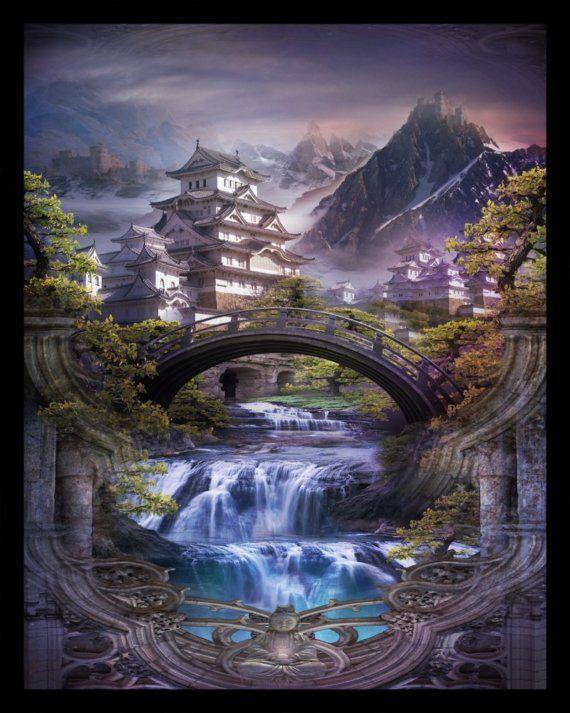来 Shangri-La 来 ~ Lost Lands of Imagination - Shangri-La - Art Print by Brian Giberson