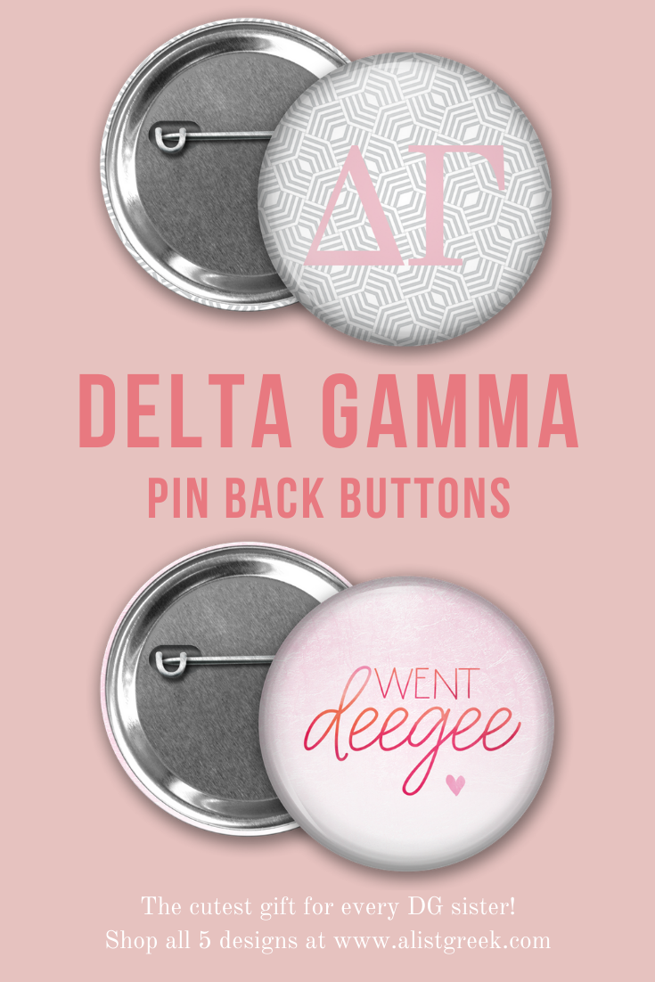 Delta Gamma Button Set  AList Greek Designs Gift these adorable Delta Gamma buttons to your new members on bid day so they can rep their DG love all around campus Shop al...