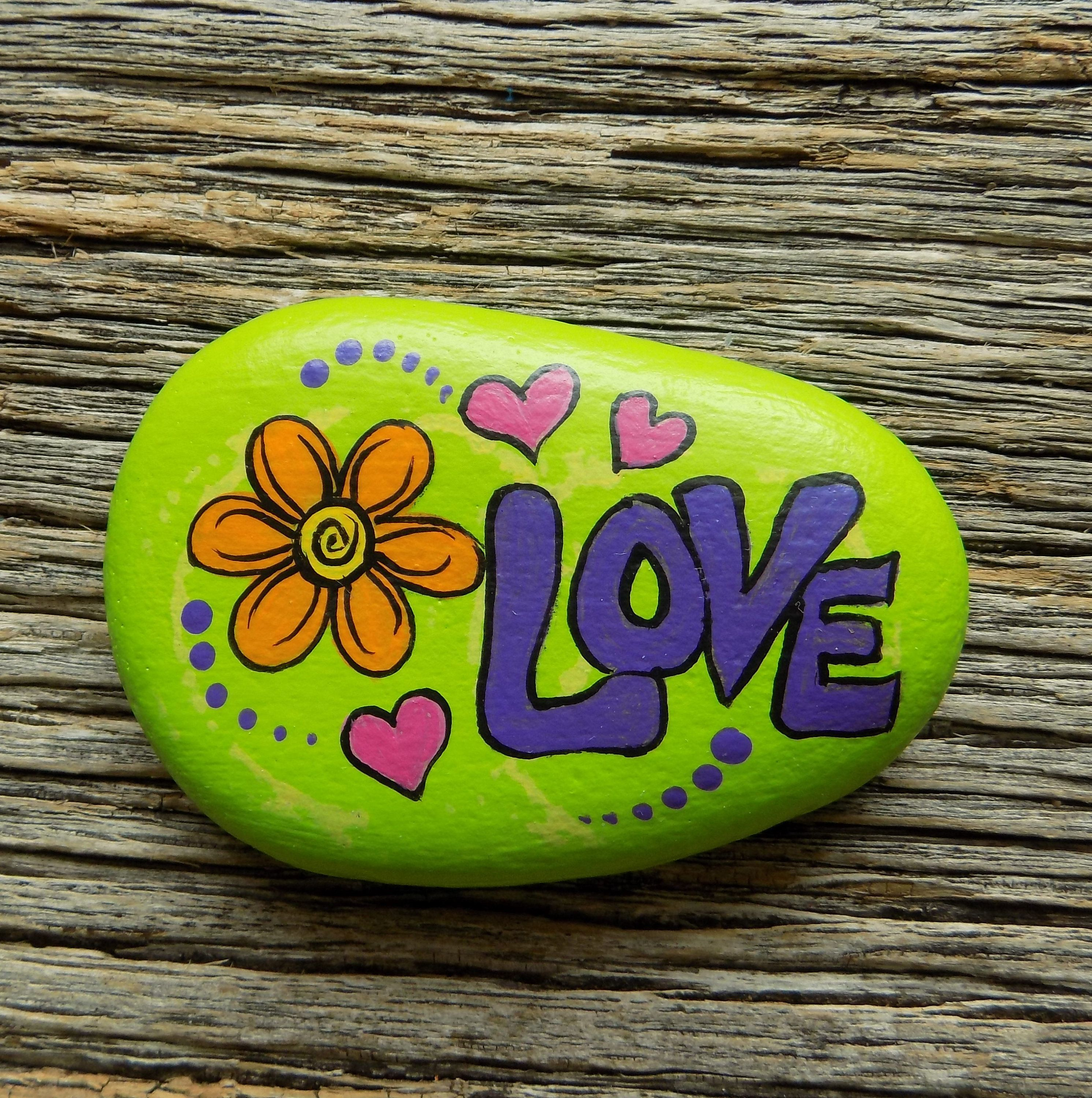 Love with Flower and Hearts Painted Rock,Decorative Accent Stone, Paperweight