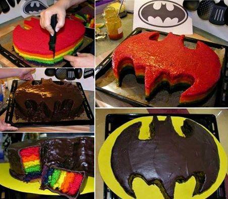 Batman Rainbow Cake How To Make One Video Instructions Rainbow