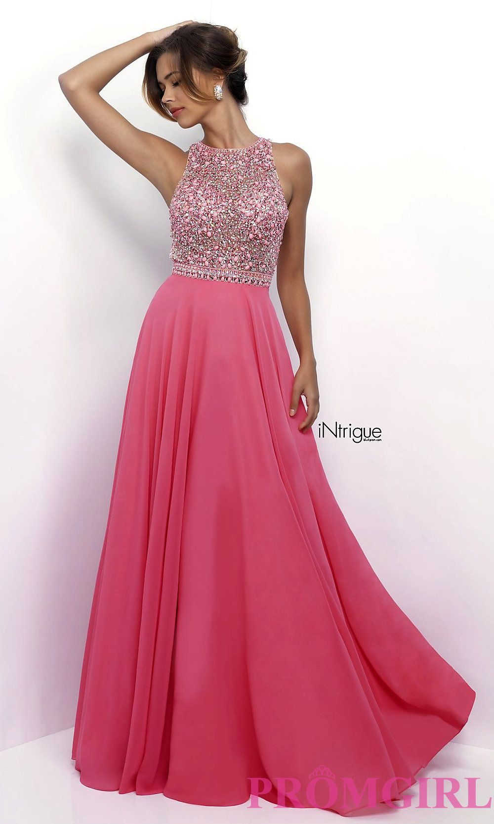 6251f116ce5 Long pink chiffon high neck open back prom dress with a beaded bodice from  Intrigue by Blush. Style  BL-IN-268