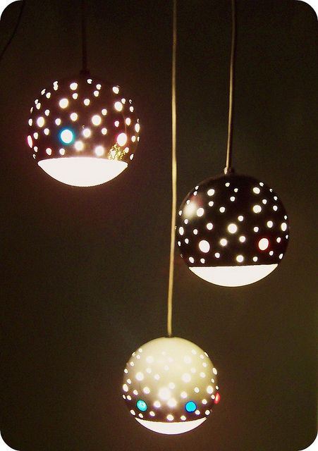 1950 S Perforated Metal Hanging Lamp Inside Retro