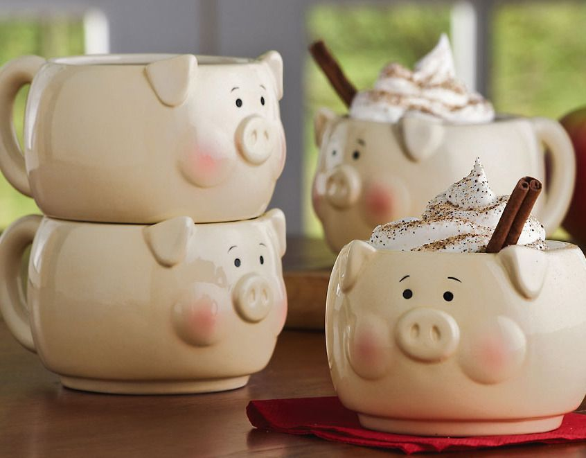 Country Farmhouse Kitchen 4 Pc Pig Stacking Mug Set Country Kitchen Farmhouse Pig Decor Pig
