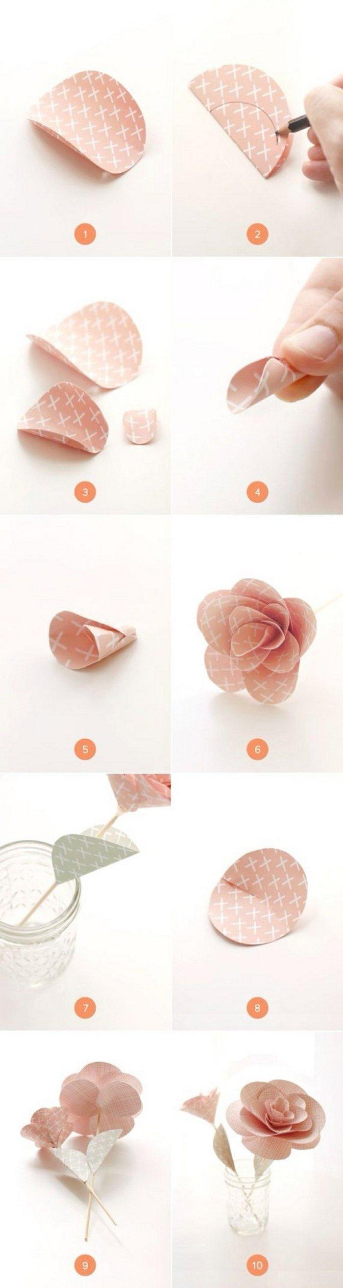 Simple origami flower rose branch tutorial diy pinterest simple origami flower rose branch tutorial mightylinksfo