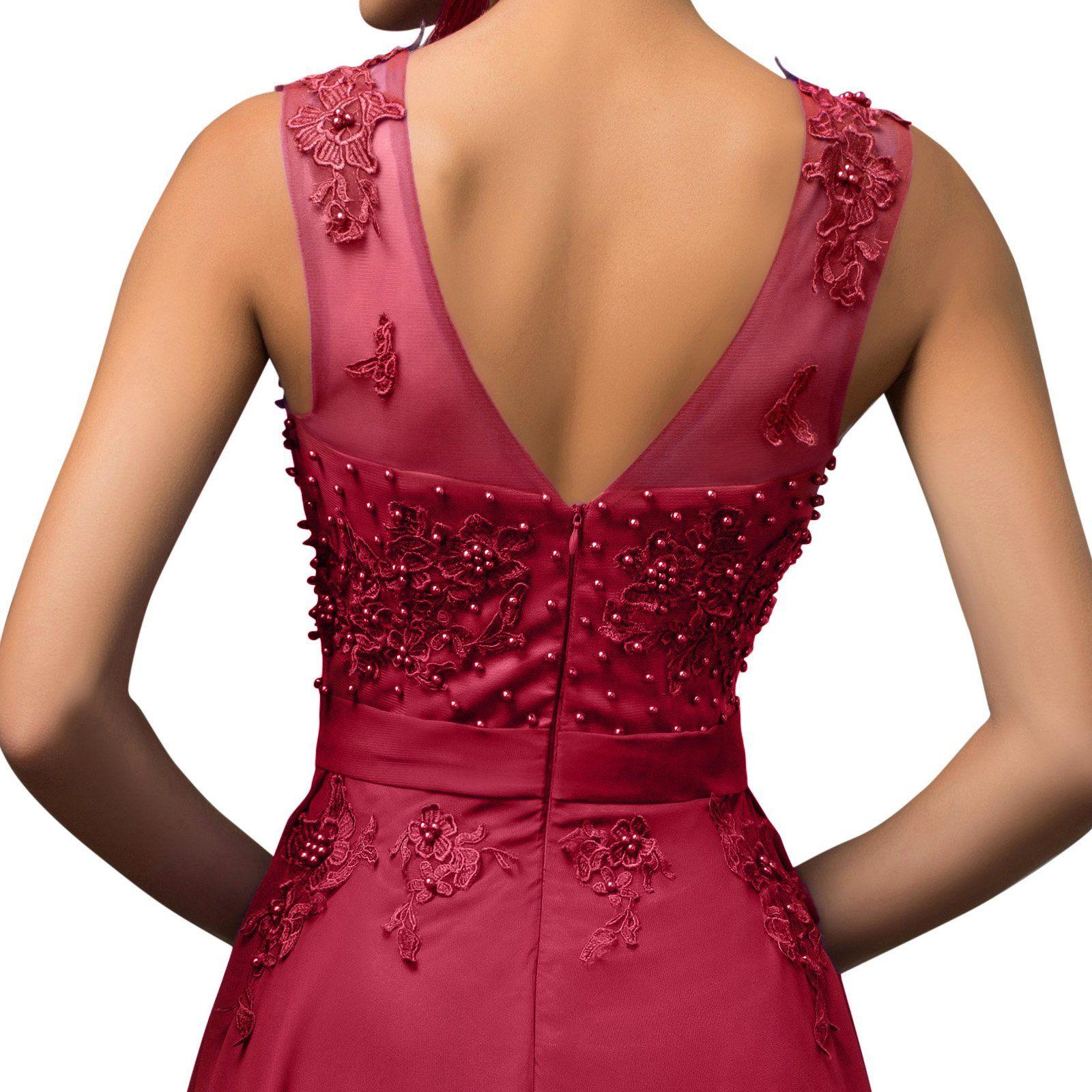 Lea Rosa Damen Abendkleid Königin der Nacht Dunkelrot Gr. 46 ...