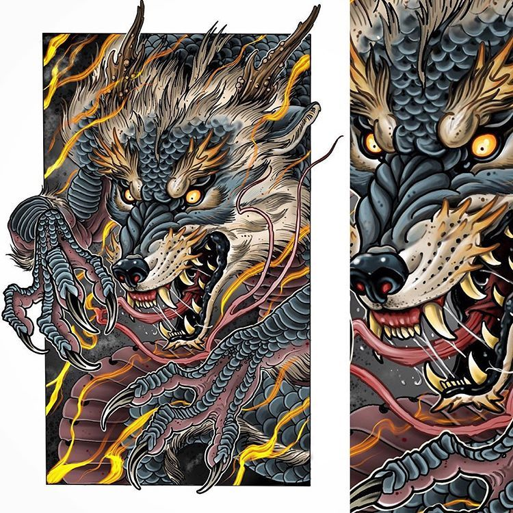 Might Make Prints Of This And Also Its Up For Grabs As A Full Arm Or Leg Sleeve Japanesetattoo Japanesedragon Japaneseart J Japanese Tattoo Dog Tattoos Art