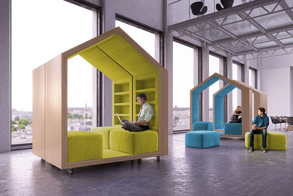 house-shaped office furniture | office cubicles, cubicle and creative